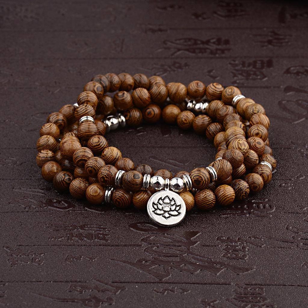 Lotus Tibetan Wooden Mala Bracelet & Necklace