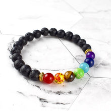 Load image into Gallery viewer, Seven Chakra Lava Stone Bracelet