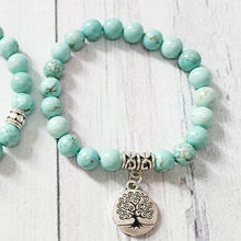 Load image into Gallery viewer, Tree of Life Turquoise Tumbled Healing Stone Bracelet