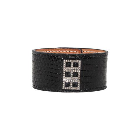 Black Austin Cuff with Diamond Geometric - Julz by J. Markell Designs