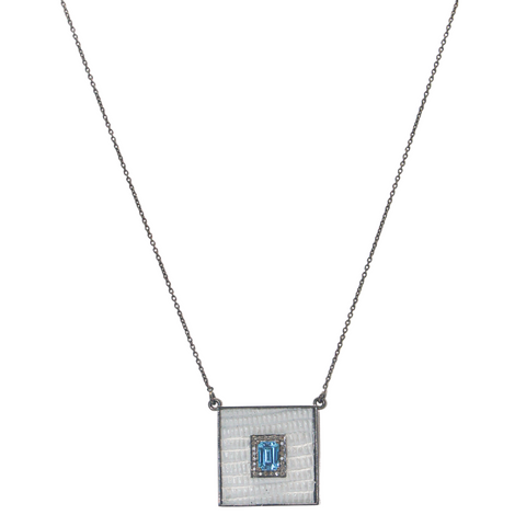 Square Necklace with Blue Topaz - Julz by J. Markell Designs
