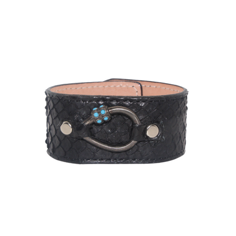 Black Python Austin Cuff with Turquoise Tear Drop Screw Lock - Julz by J. Markell Designs