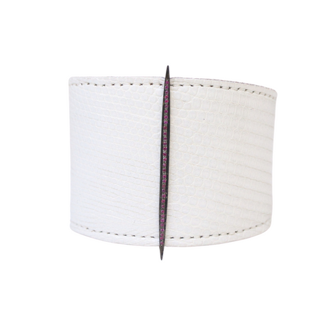 Chicago Cuff with Pink Sapphire Needle - Julz by J. Markell Designs