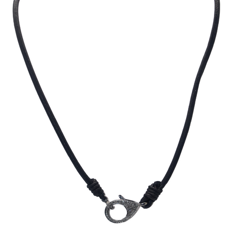 Len Necklace - Leather with Diamond Clasp - Julz by J. Markell Designs