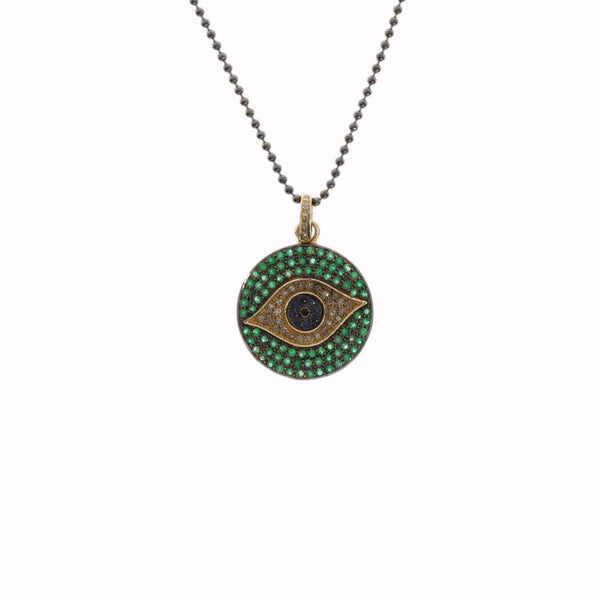 Emerald, Sapphire and Diamond Evil Eye Pendant - Julz by J. Markell Designs