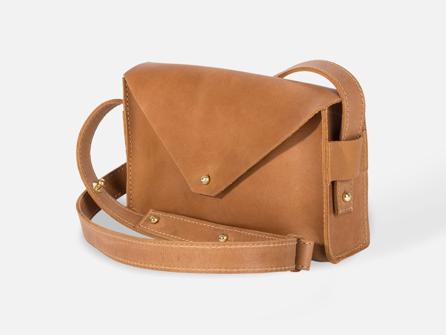 Leather Envelope Bag // Camel
