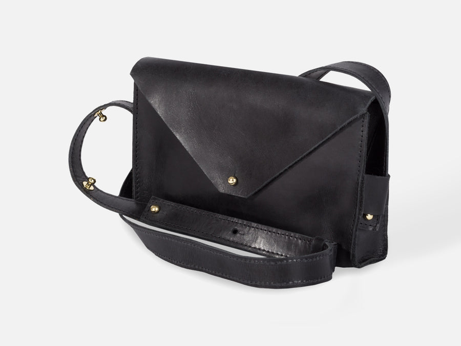 Leather Envelope Bag // Black