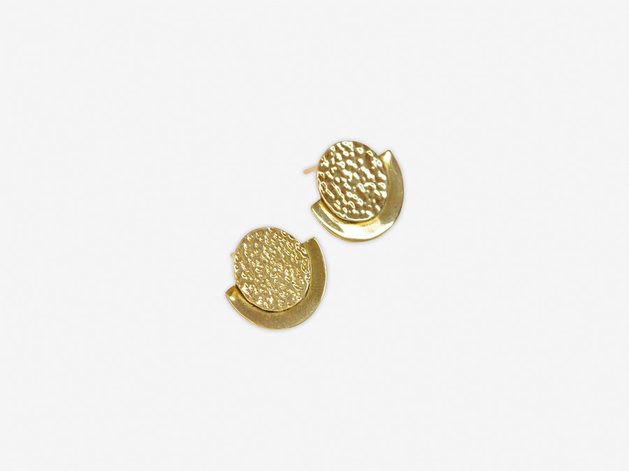Round Stud Earrings with Hammered Surface