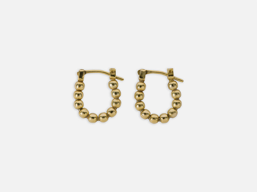 Mini Hoops with Lined up Pearls // Gold // Small