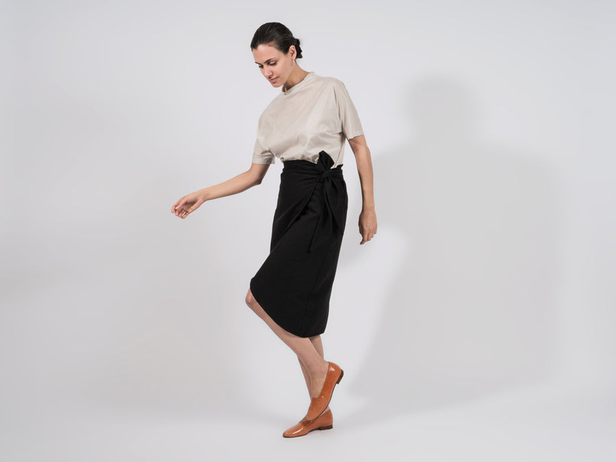 Mali Cotton Wrap Skirt // Black