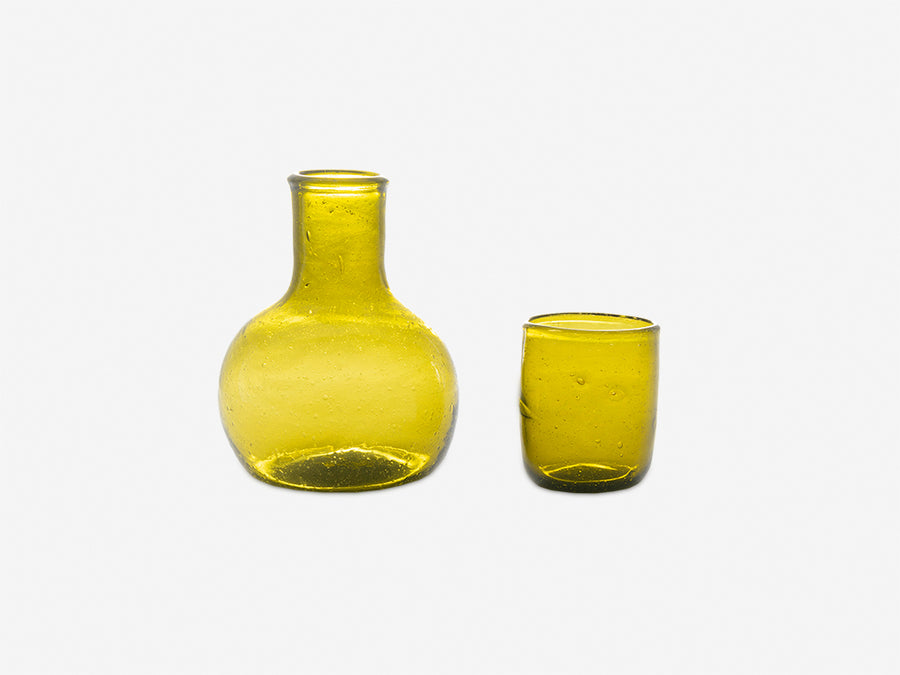 Curved Carafe with Drinking Glass // Olive Green