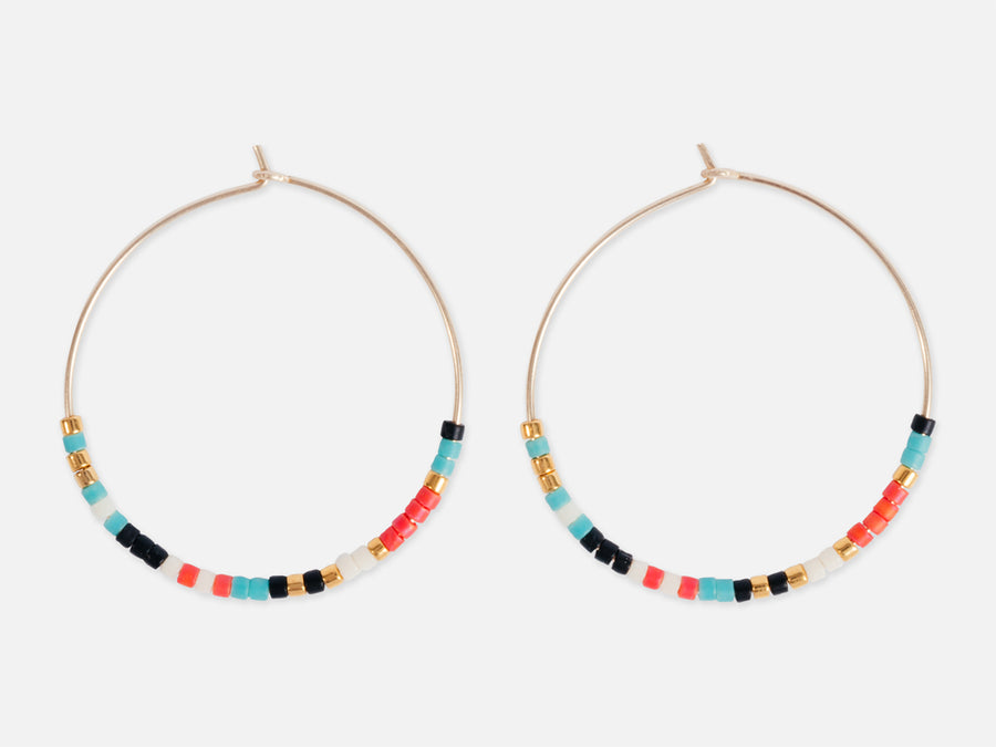 Hoops with Glass Beads // Multi-Coloured </br> Ø3 cm