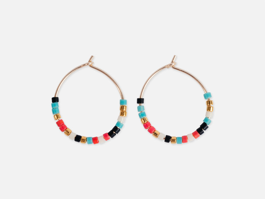Hoops with Glass Pearls // Multi-Coloured </br> Ø 1.7 cm