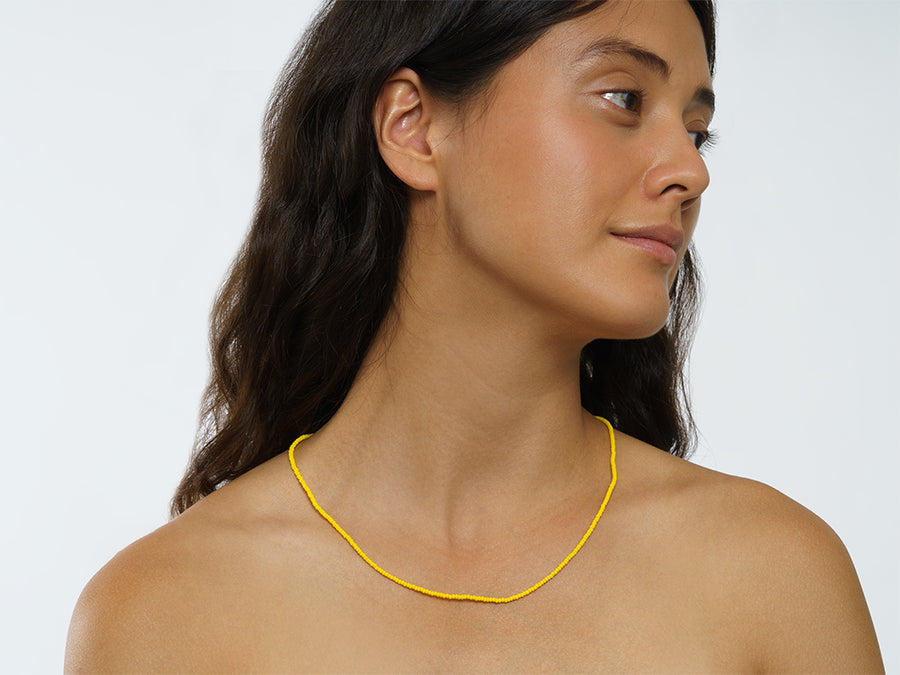 Necklace with Glass Beads // Yellow
