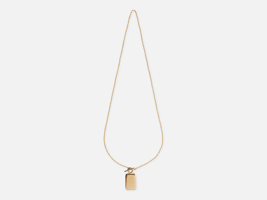 Fair Trade Necklace T-Bar Medaillon Pendant Gold Sustainable Jewellery