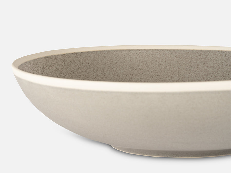 Flat Ceramic Bowl with White Rim // Grey </br> Big
