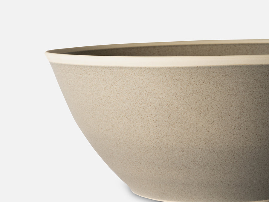 Salad Ceramic Bowl with White Rim // Grey
