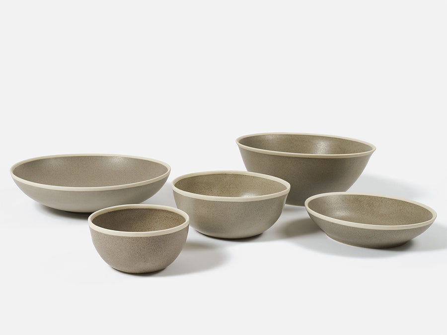 Flat Bowl with White Rim // Grey </br> Small