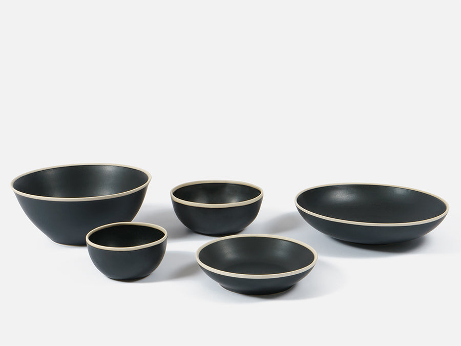 Flat Ceramic Bowl with White Rim // Black </br> Small
