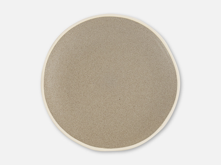 Plate with White Rim // Grey </br>Big