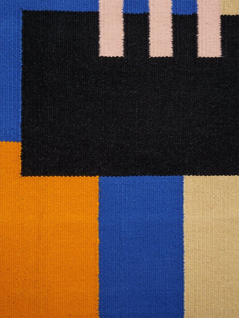 Cotton Carpet with Geometric Pattern // Blue-Orange </br> Small