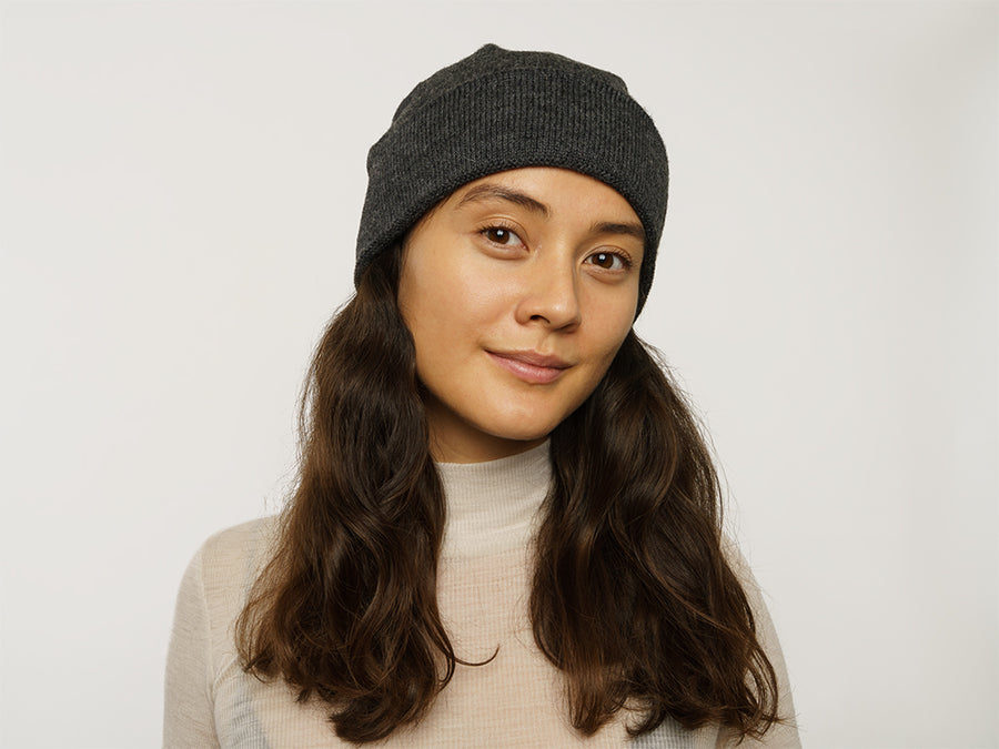 Alpaca Wool Beanie // Dark Grey