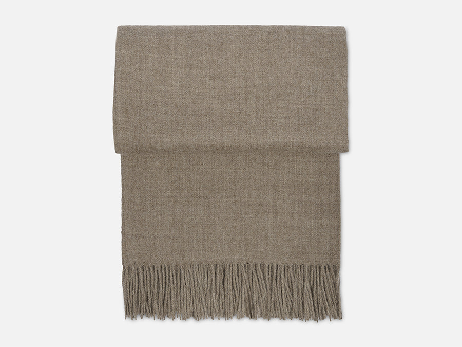 Alpaca Wool Blanket with Fringes // Taupe