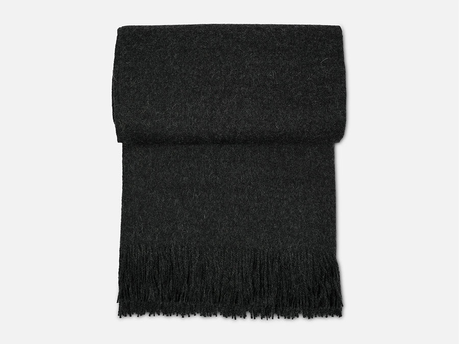 Alpaca Wool Blanket with Fringes // Dark Grey