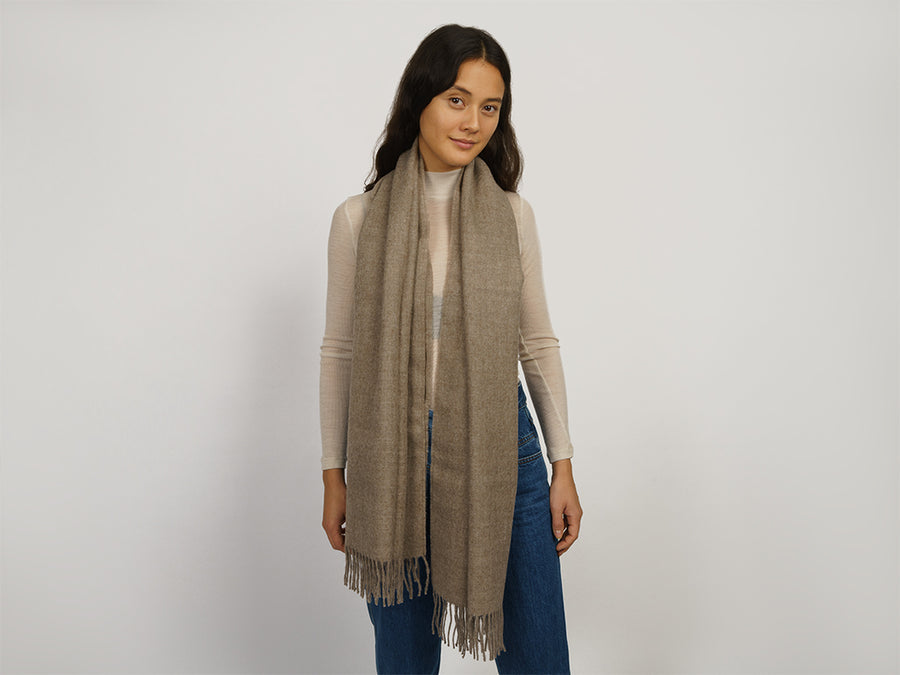 Alpaca Wool Scarf with Fringes // Taupe
