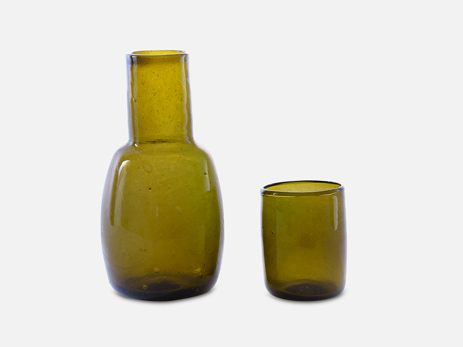 Classic Carafe with Drinking Glass // Olive Green