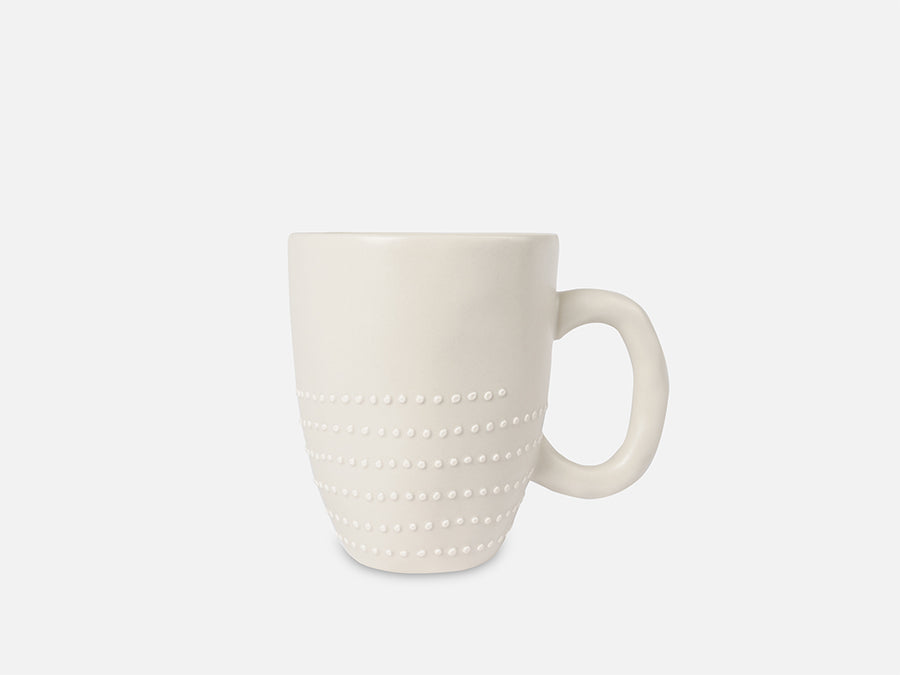 Ceramic Mug with White Dots // White