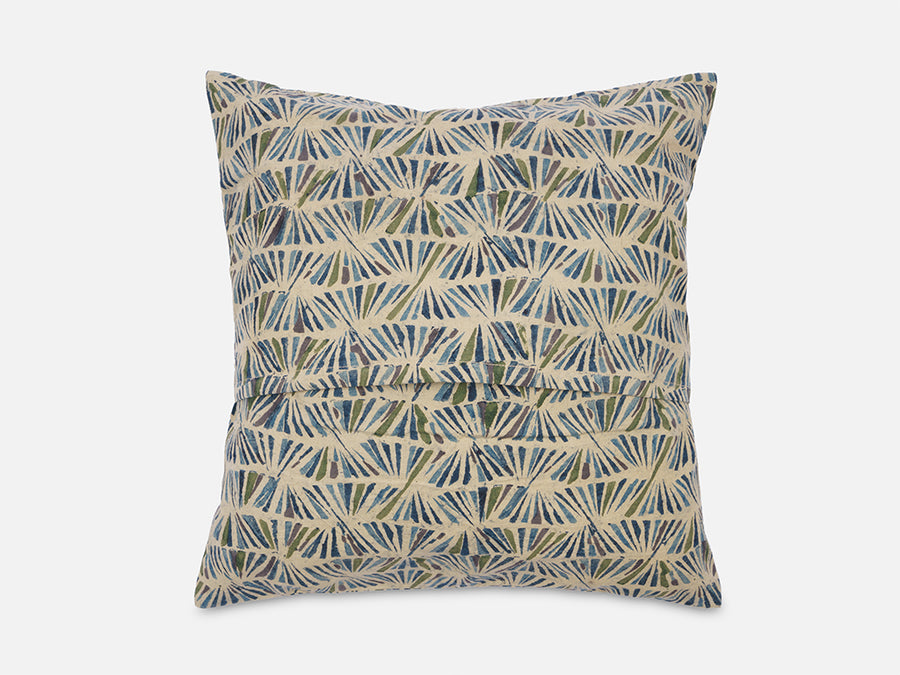 Cushion Cover with Block Print // Blue-Green-Grey