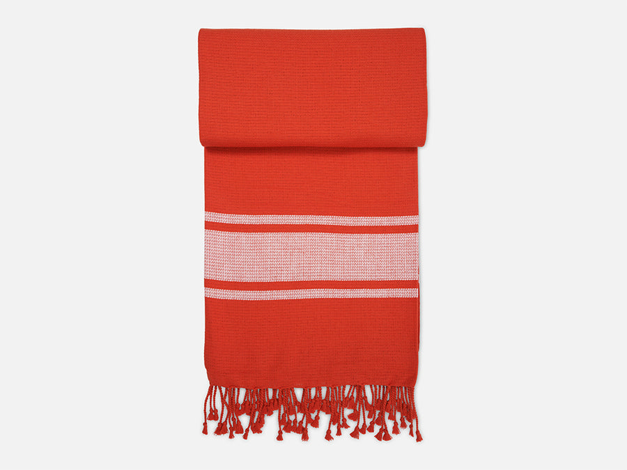 Hammam Towel with Fringes // Red-White