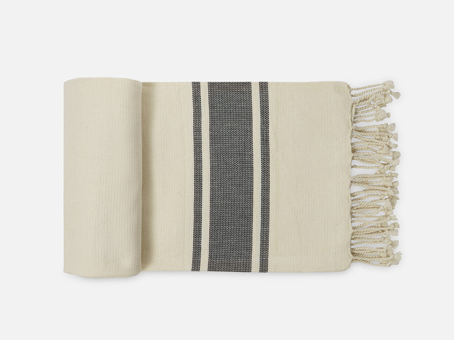 Hammam Towel with Fringes // White-Blue