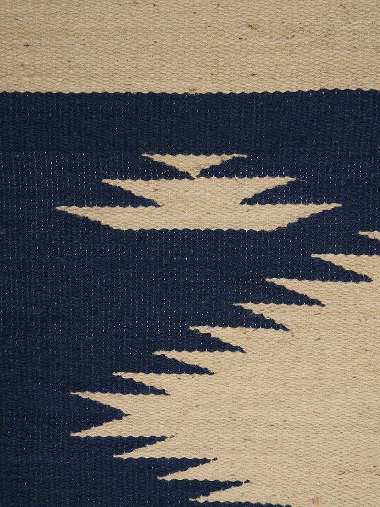 Jute Carpet with Jagged Pattern // Beige-Brown-Blue