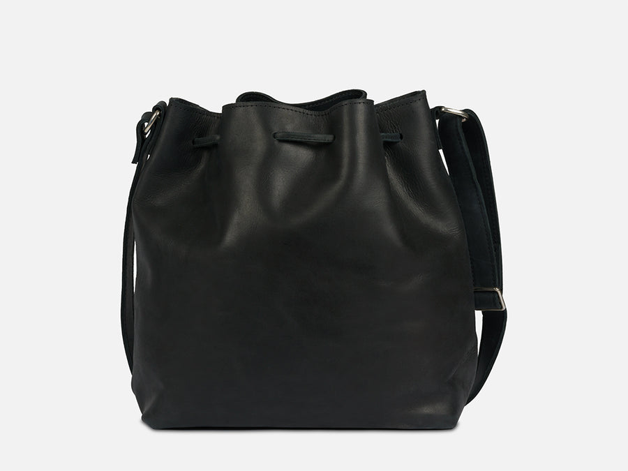 Leather Bucket Bag // Black