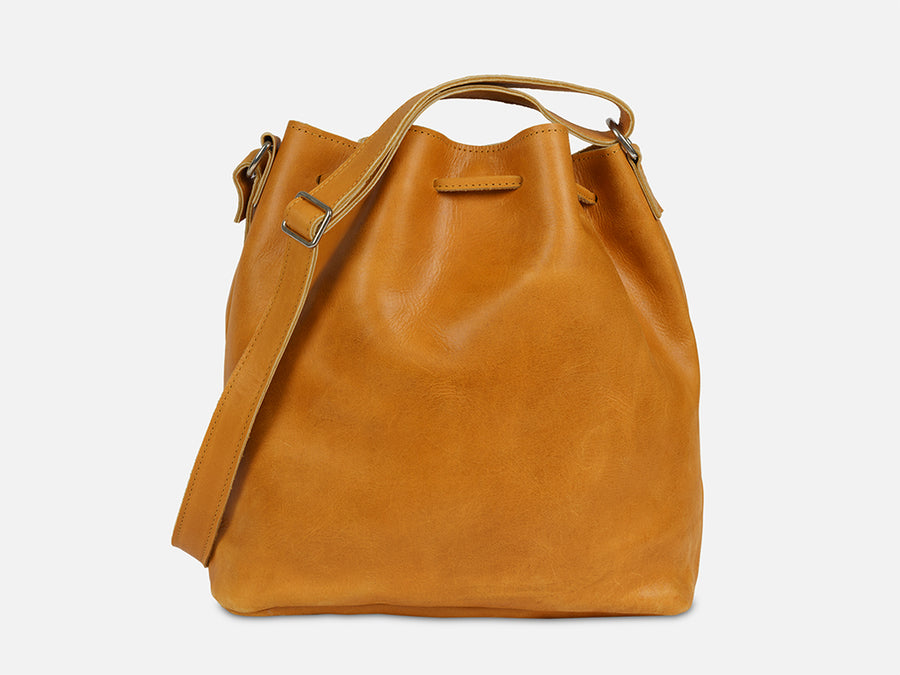 Leather Bucket Bag // Camel