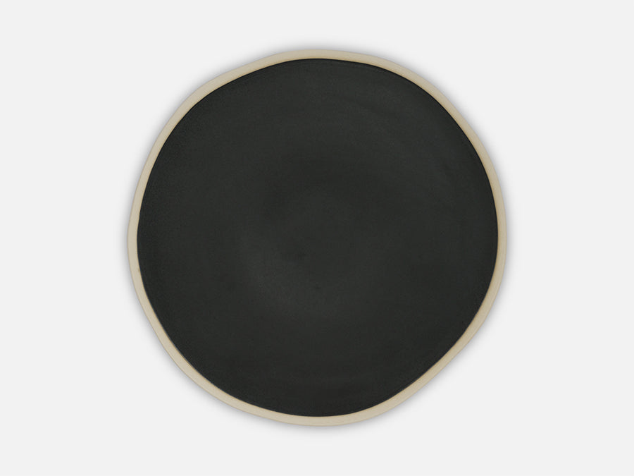 Plate with White Rim // Black </br>Small