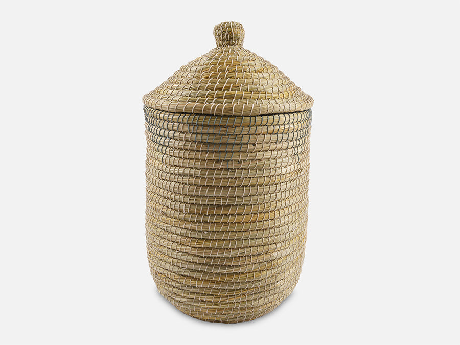 Round Laundry Basket with Lid // Natural-Grey