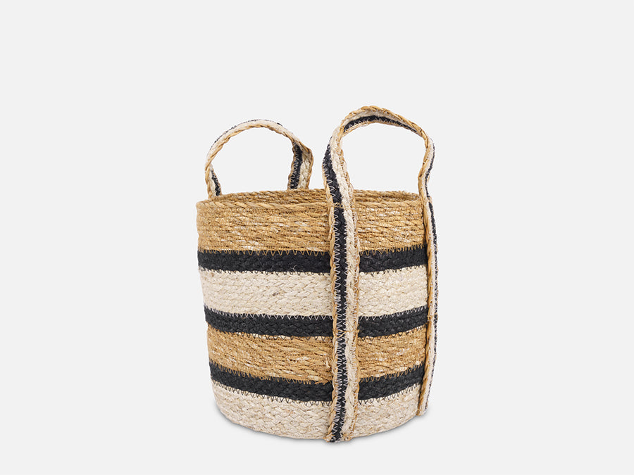 Striped Basket with Handles // Small