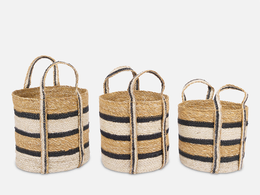 Striped Basket with Handles // Big