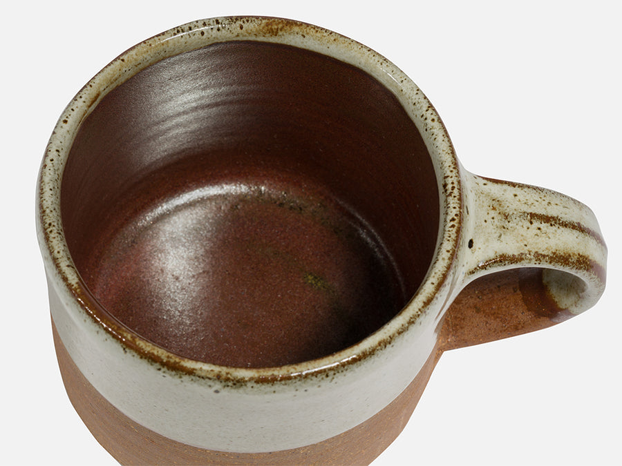 Two-Tone Ceramic Coffee Mug with Handle // Beige-Brown
