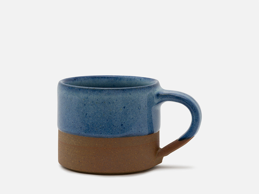 Two-Tone Ceramic Coffee Mug with Handle // Blue-Brown