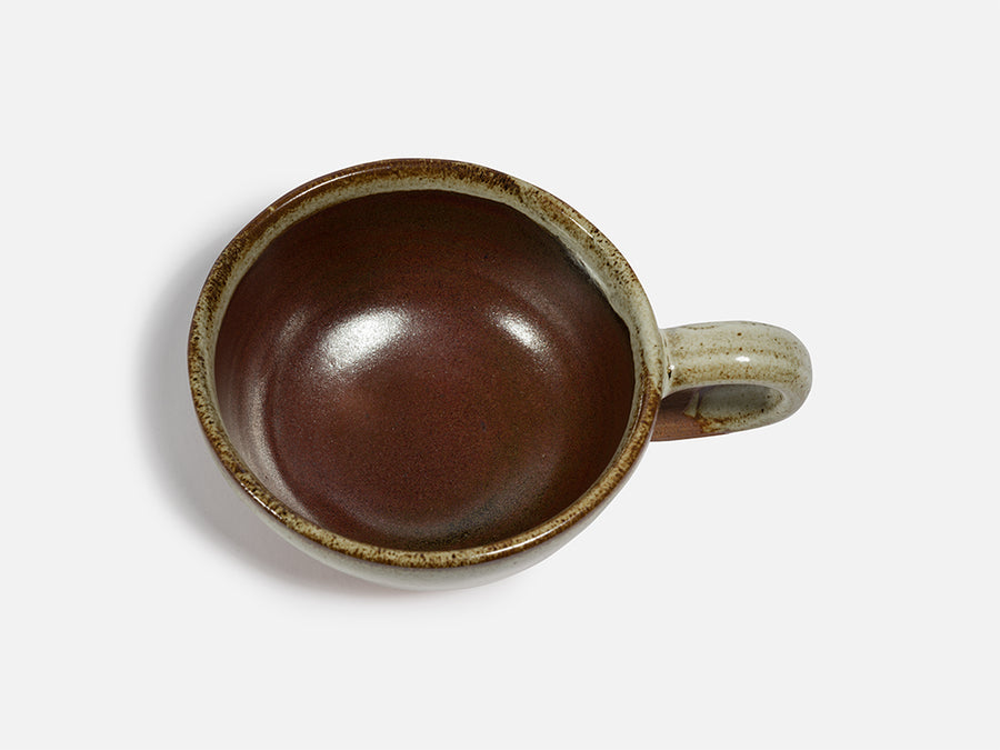 Round Two-Tone Ceramic Tea Cup with Handle // Beige-Brown