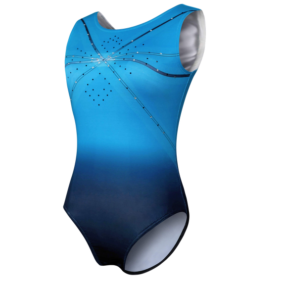 Aqua Girl's Gymnastic Leotard With Rhinestone Embellishments