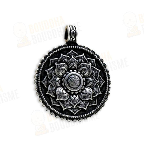 "Collier Mandala ""Om & Lotus"" Argent Antique"