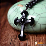 Collier Crucifix en Obsidienne