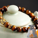 "Bracelet ""Bouddha"" en Pierre Naturelle & Or Antique - 6 couleurs"