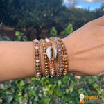 "Bracelet Wrap ""Coquillage & Pierres Naturelles"""