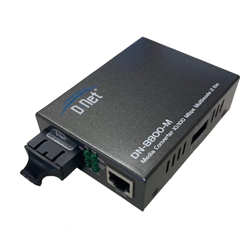 D-NET Ethernet Media Converter, Multi Mode LX Fiber, 10/100/1000 Base-T (2 Kilometers), (DN-8800-M)
